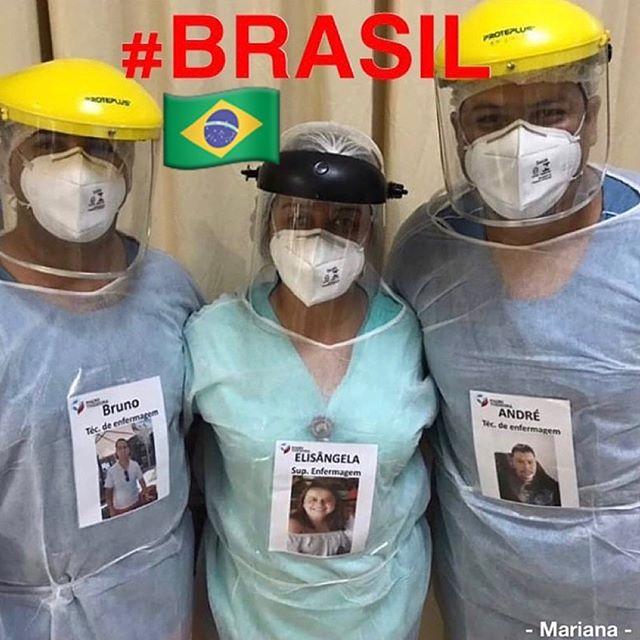 92722568 3518182514875199 812343747333270843 n - Profissionais da saúde colocam fotos sorrindo em suas roupas para humanizar atendimento a covid-19