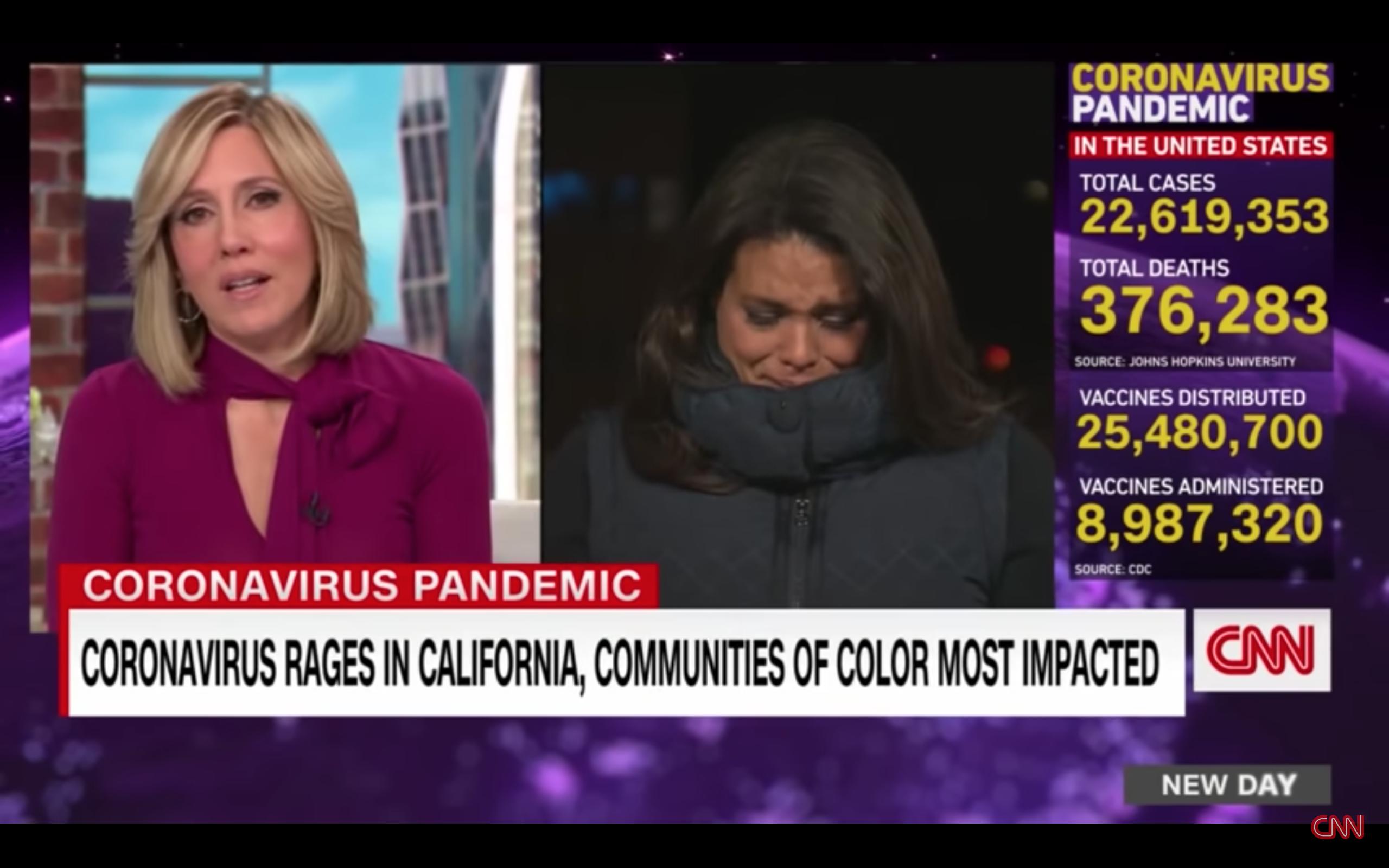 """Screen Shot 2021 01 14 at 08.43.04 - Repórter chora ao vivo ao reportar sobre a pandemia nos EUA: """"É muito difícil de aguentar"""""""