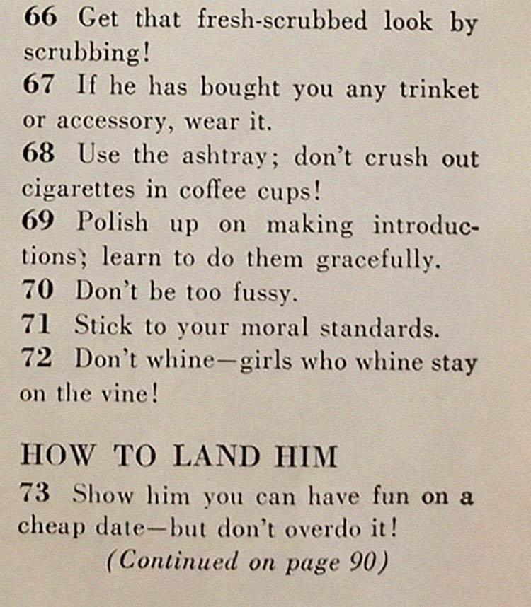 arranjando um marido materia - Artigo de 1958 com '129 MANEIRAS DE CONSEGUIR UM MARIDO' mostra o quanto o mundo mudou