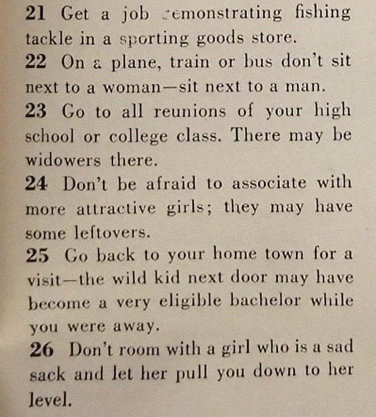 dicas conquista marido - Artigo de 1958 com '129 MANEIRAS DE CONSEGUIR UM MARIDO' mostra o quanto o mundo mudou