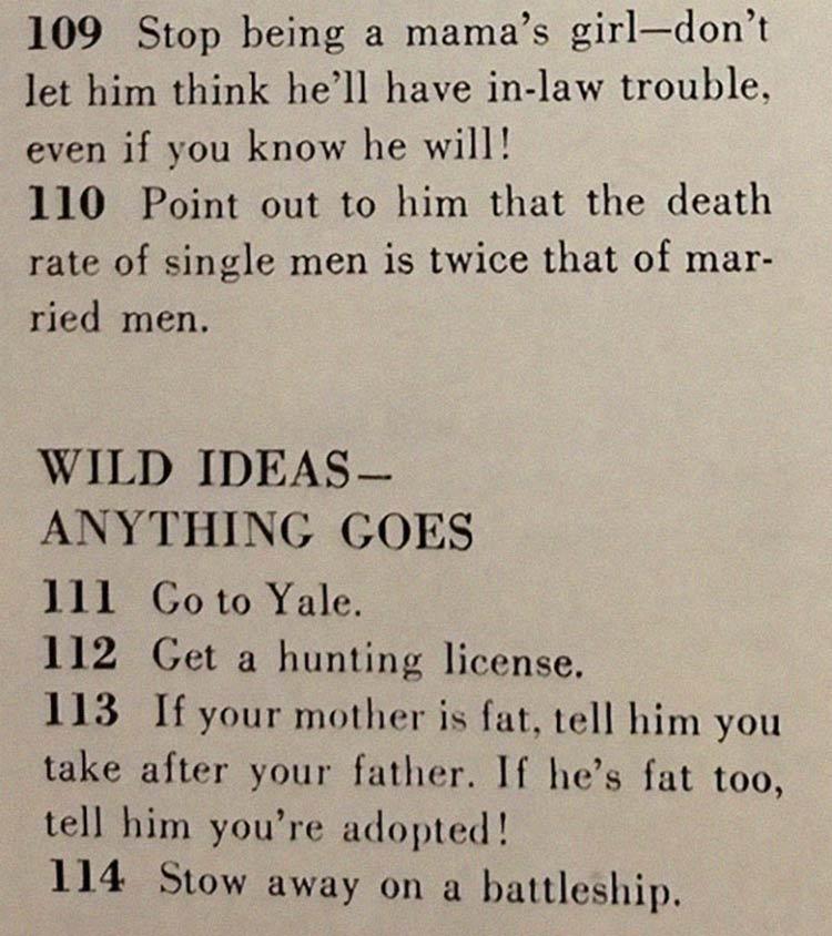 tecnica arranjar marido - Artigo de 1958 com '129 MANEIRAS DE CONSEGUIR UM MARIDO' mostra o quanto o mundo mudou