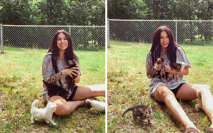 mulher gravida e gata dao a luz ao mesmo tempo depois de resgatar a gata prenha abandonada 2 - Mulher grávida e gata dão à luz ao mesmo tempo depois de resgatar a gata prenha abandonada